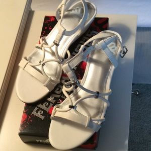 Fergie Sandals White Sz 8 New